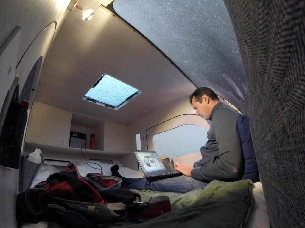 working-inside-droplet-teardrop-trailer