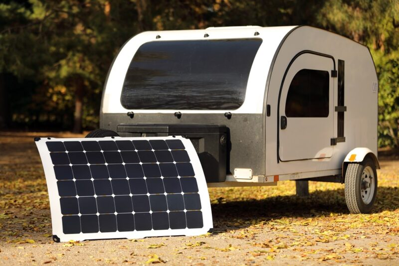Light Leaf Solar panel makes sure that your DROPLET mini camper never runs out of battery