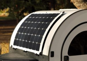 Light Leaf Solar panel makes sure that your DROPLET teardrop trailer never runs out of battery