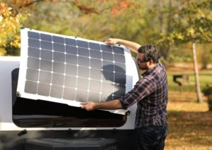 Light Leaf Solar panel makes sure that your DROPLET travel trailer never runs out of battery