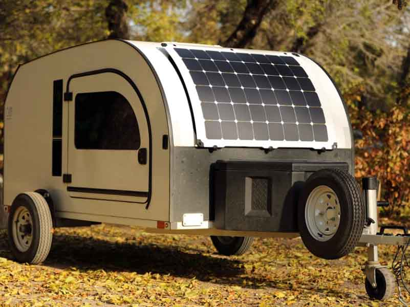 Never run out of power during your off the grid adventures with the LightLeaf Solar option for our teardrop trailer